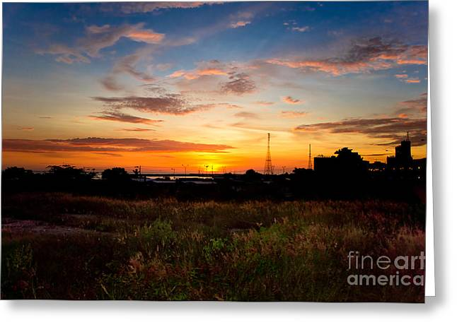 Sunrise Greeting Card by Hector Lozano