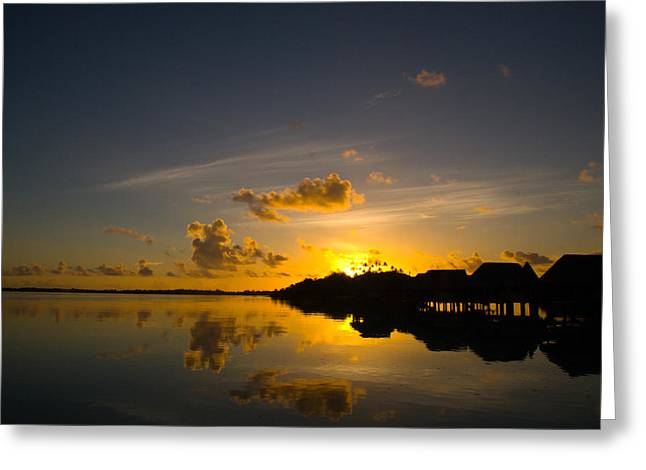 Sunrise In Bora Bora With Overwater Bungalows Greeting Card by Benjamin Clark