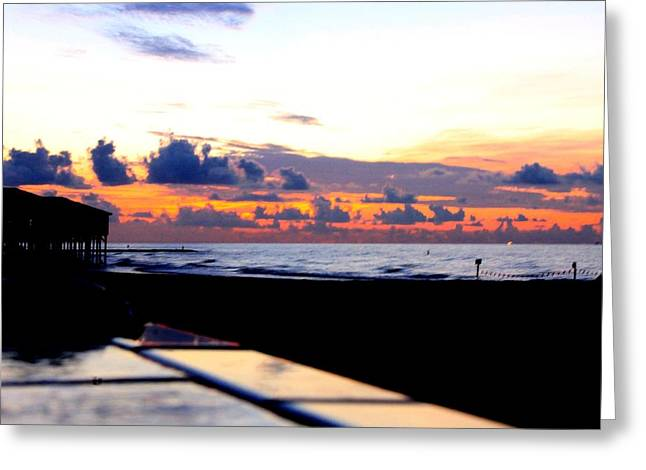 Sunrise In Galveston Greeting Card by Mark Longtin
