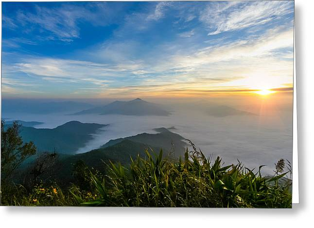 Sunrise In Mornig Time Misty Early On Mountain Greeting Card by Kittipan Boonsopit