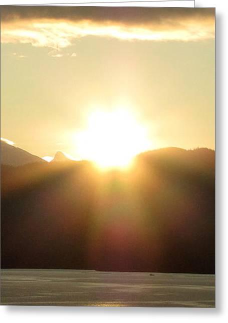 Sunrise In The Fjord Greeting Card by Judy Garrett