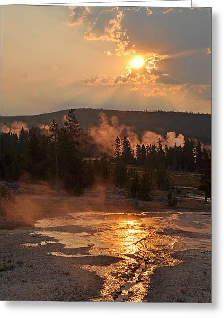 Sunrise Near Yellowstone's Punch Bowl Spring Greeting Card by Bruce Gourley