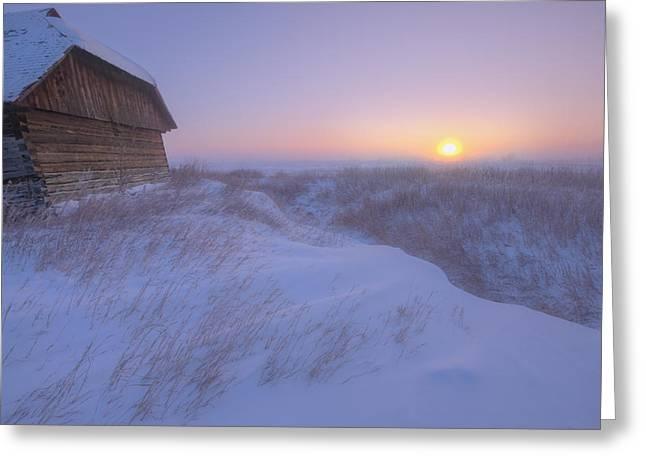Sunrise On Abandoned, Snow-covered Greeting Card by Dan Jurak