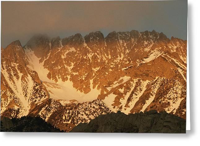 Sunrise On Basin Mountain, Above Owens Greeting Card