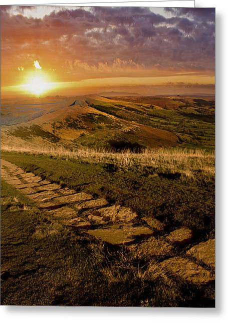 Sunrise On Mam Tor Derbyshire Greeting Card by Darren Burroughs
