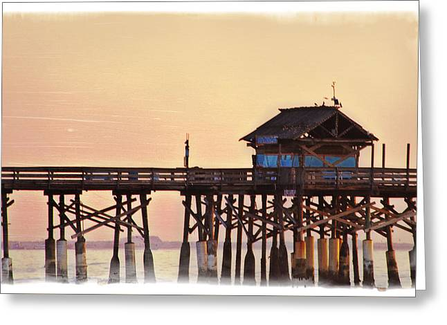 Greeting Card featuring the photograph Sunrise On Rickety Pier by Janie Johnson