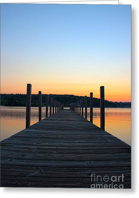Sunrise On The Docks Greeting Card by Michael Mooney