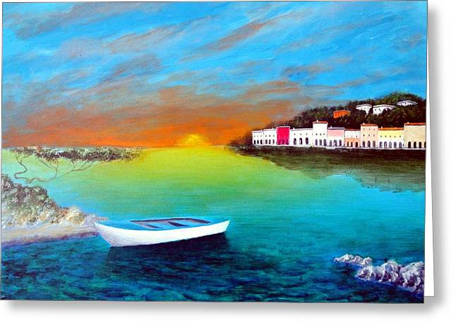 Sunrise On The Riviera Greeting Card by Larry Cirigliano
