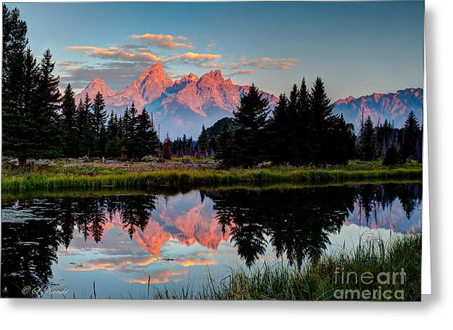 Sunrise On The Tetons Greeting Card