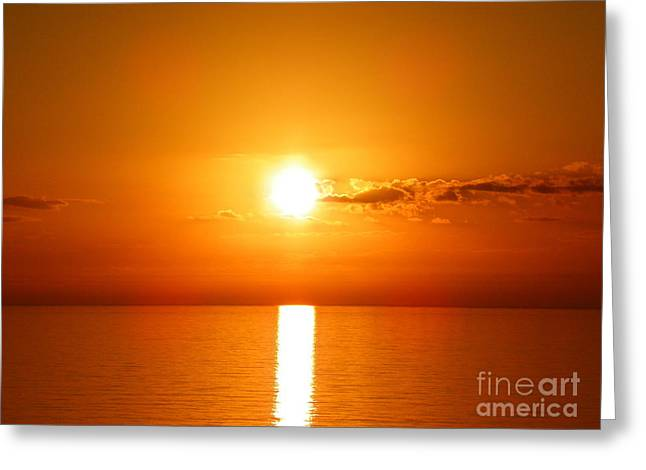 Greeting Card featuring the photograph Sunrise Orange Skies by Eve Spring