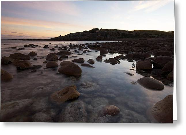 Sunrise Over A Rocky Boulder Bay Greeting Card by Brooke Whatnall