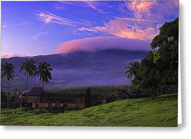 Greeting Card featuring the photograph Sunrise Over Plantation Ruins- St Lucia by Chester Williams