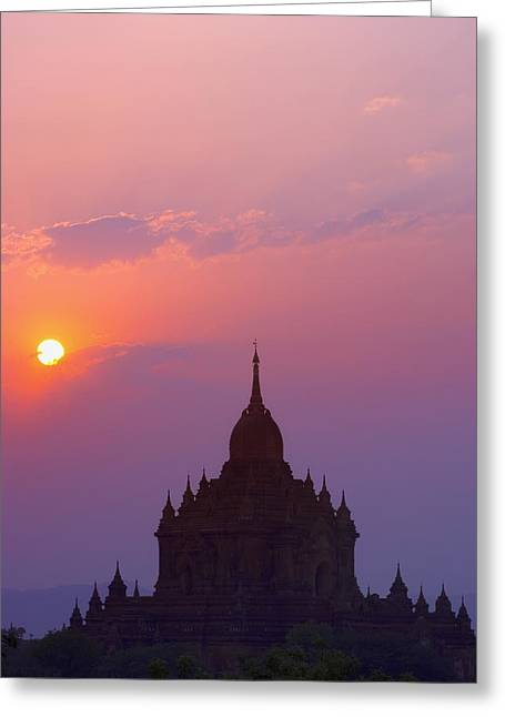 Sunrise Over Stupa Temple In Bagan Greeting Card by Carson Ganci