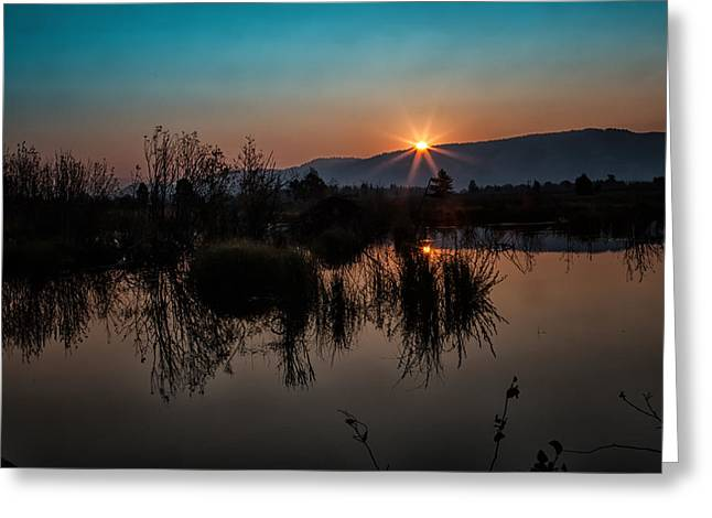 Sunrise Over The Beaver Pond Greeting Card