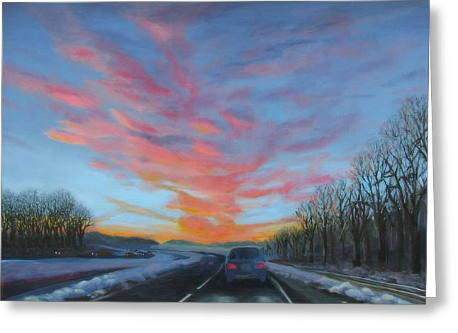 Sunrise Over The Highway Greeting Card