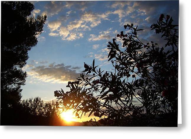 Greeting Card featuring the photograph Sunrise Over The Hill by Christine Drake