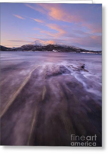 Sunrise Over Tjeldsundet In Troms Greeting Card