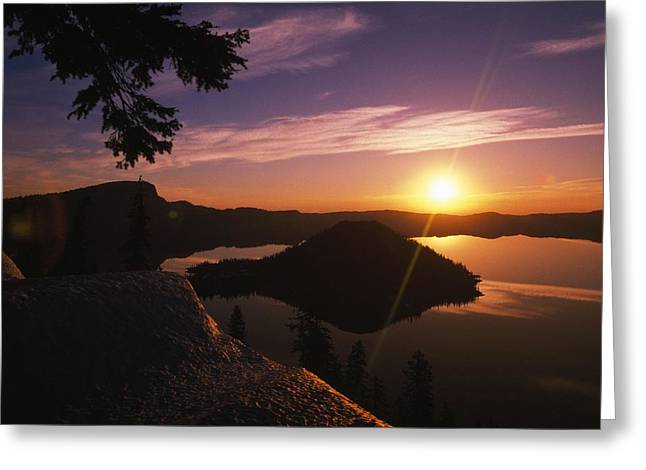 Sunrise Over Wizard Island At Crater Greeting Card