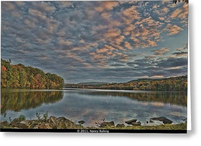 Sunrise Putnam Lake Greeting Card by Nancy Rohrig