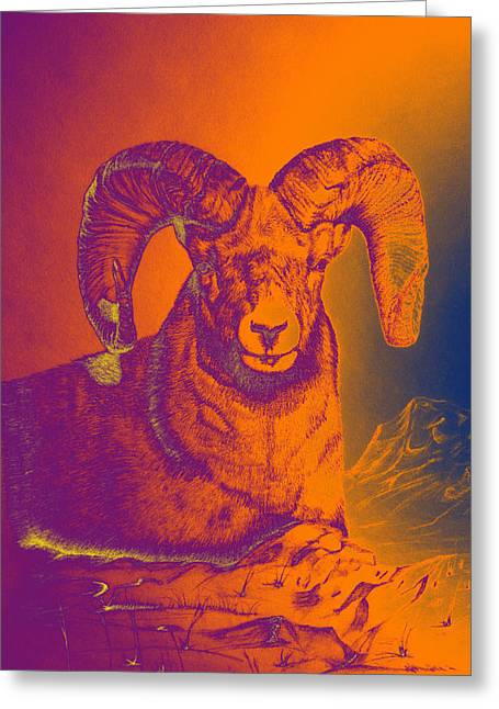 Sunrise Ram Greeting Card by Mayhem Mediums
