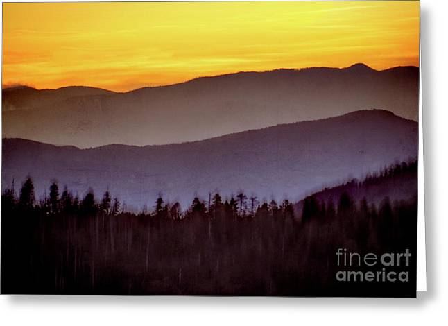 Sunrise Ridges Greeting Card by Arne Hansen