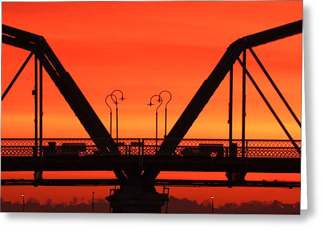 Sunrise Walnut Street Bridge Greeting Card by Tom and Pat Cory