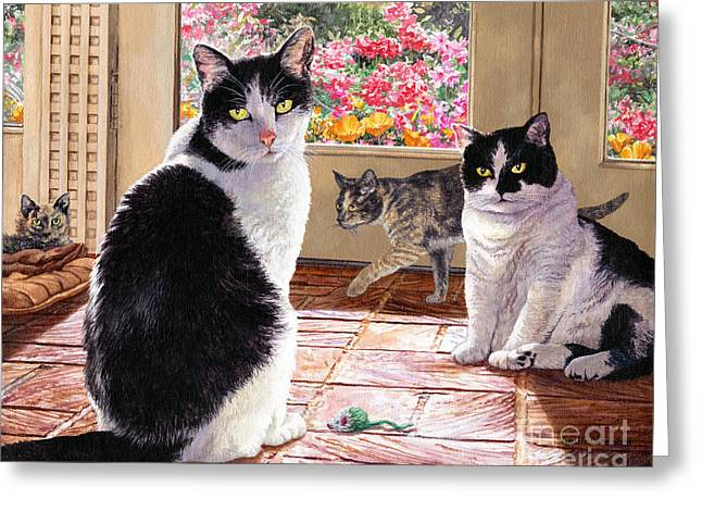 Sunroom Rendezvous Greeting Card by Lynette Cook