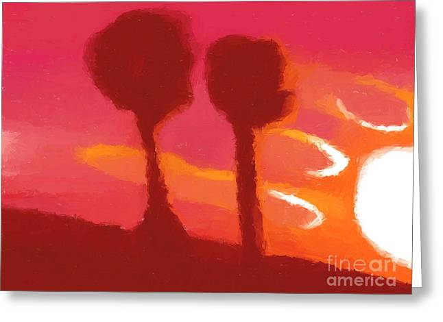 Sunset Abstract Trees Greeting Card by Pixel Chimp