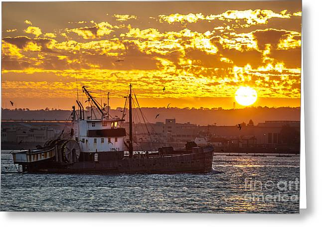 Sunset And Boat On San Diego Bay Greeting Card by Sonny Marcyan