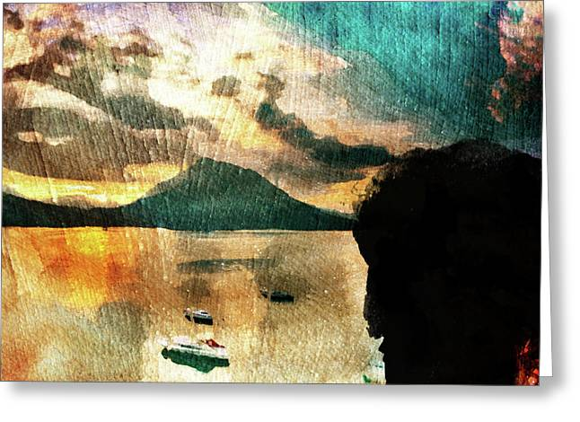 Greeting Card featuring the digital art Sunset And Fear by Andrea Barbieri