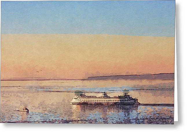 Sunset And Ferry Greeting Card by Arthur Kuntz
