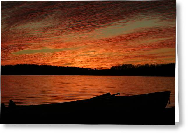 Sunset And Kayak Greeting Card