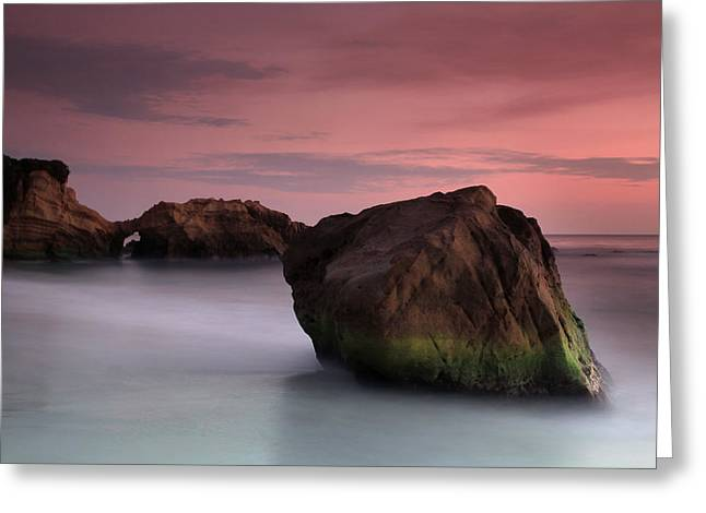 Sunset At Arch Rock Greeting Card by Dave Sribnik