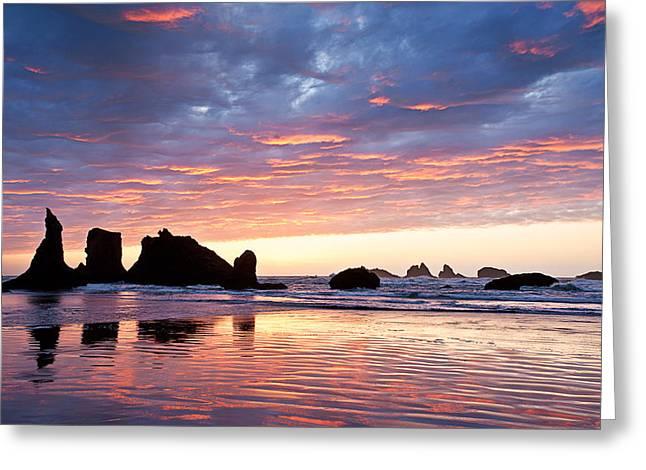 Sunset At Bandon Beach Greeting Card