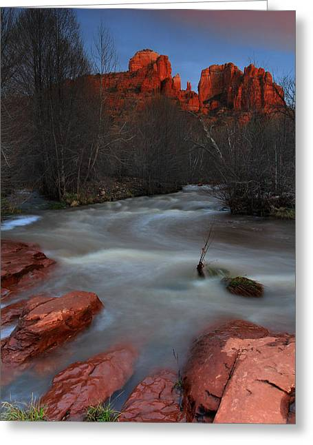 Sunset At Cathedral Rock Greeting Card by Dave Sribnik
