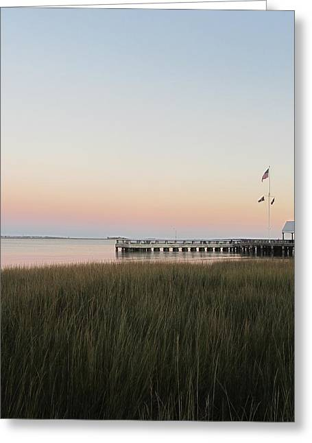Sunset At Charleston Bay 2 Greeting Card by Cathy Lindsey