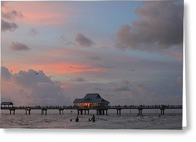 Sunset At Clearwater Beach Greeting Card