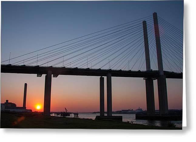 Sunset At Dartford Bridge Greeting Card