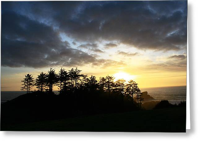 Sunset At Ecola Point Greeting Card