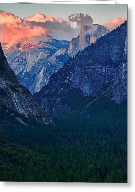 Sunset At Half Dome Greeting Card by Rick Berk