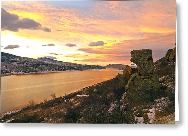 Sunset At Horsetooth Dam Co. Greeting Card
