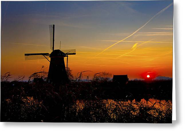 Sunset At Kinderdik Greeting Card by Rick Bragan