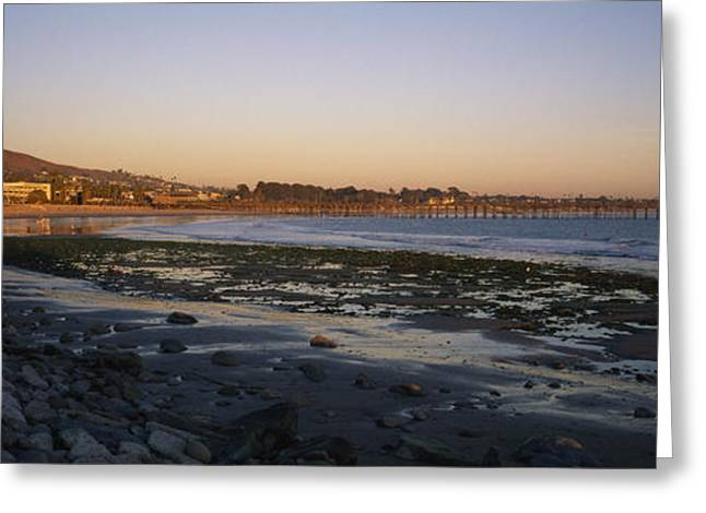 Sunset At Low Tide On Ventura Beach Greeting Card by Rich Reid