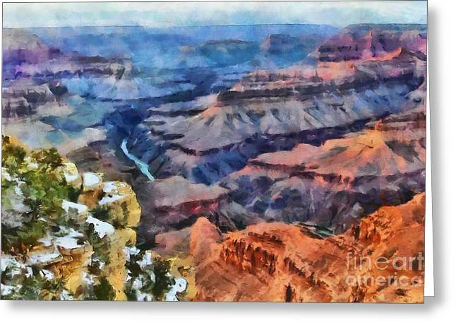 Sunset At Mohave Point At The Grand Canyon Greeting Card