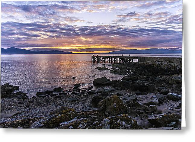 Sunset At Portencross Jetty Greeting Card
