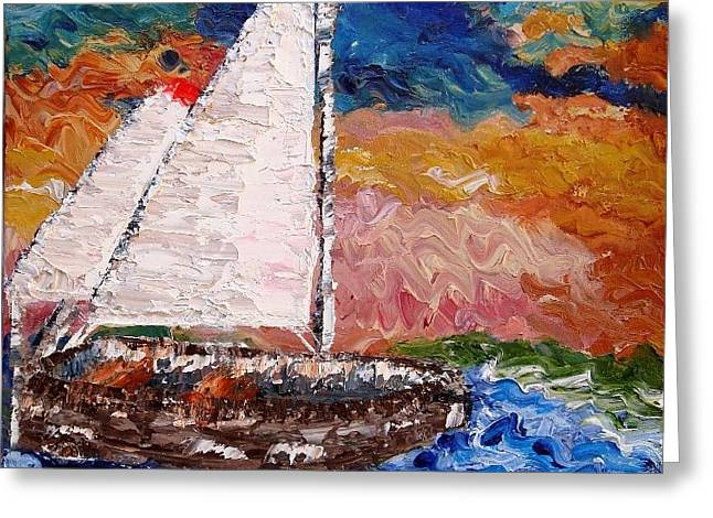 Sunset At Sea Greeting Card by Annamarie Sidella-Felts