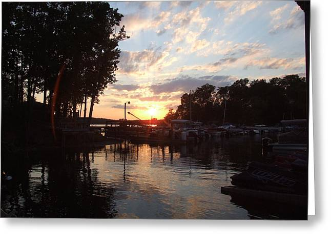 Sunset At Tega Cay Marina Greeting Card