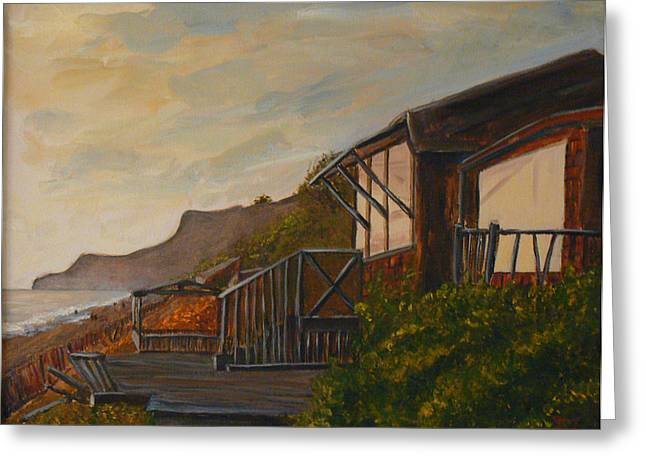 Greeting Card featuring the painting Sunset At The Beach House by Terry Taylor