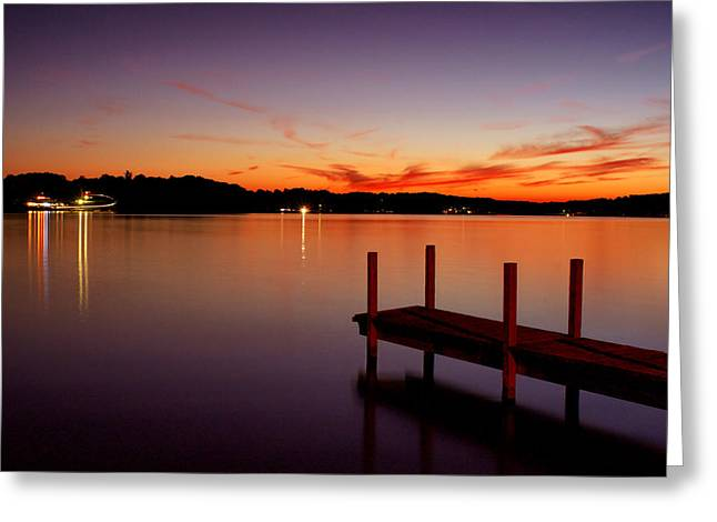 Sunset At The Dock Greeting Card by Michelle Joseph-Long