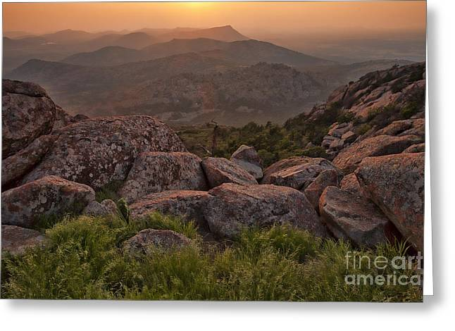 Sunset At The Wichita Mountains Greeting Card by Iris Greenwell